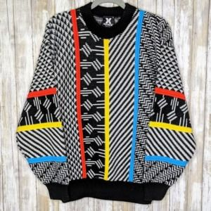 Vintage XStatx Knit Sweater XL Colorblock Abstract
